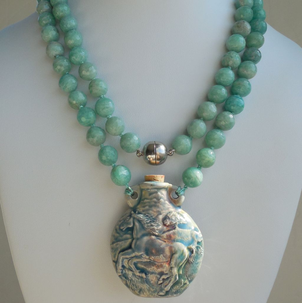 Tibetan Porcelain Bottle Horse on Hand Knotted Amazonite Necklace