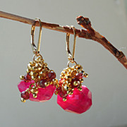 SALE Garnet, Ruby Moonstone, and Pyrite Waterfall Earrings