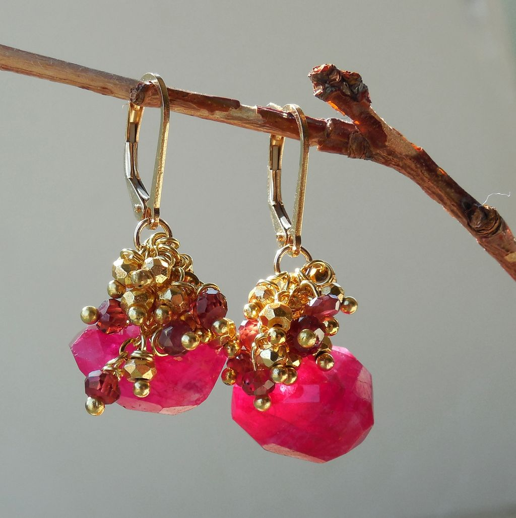 Garnet, Ruby Moonstone, and Pyrite Waterfall Earrings