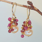 SOLD Ruby, Pyrite, Garnet, and Peach Pearl Earrings
