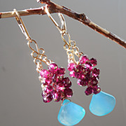 SOLD Garnet and Sea Foam Chalcedony Briolette Earrings - Clearance