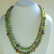 SOLD Green Garnet and Rhyolite Hand Knotted 43&quot; Necklace