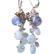 SALE PENDING RESERVED Tanzanite, Blue Topaz,  Chalcedony, Blue Lace Agate Waterfall Earrings