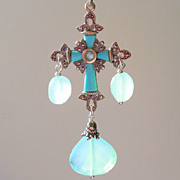 SOLD Cross Pendant - Marcasite and Sea Foam Green Chalcedony