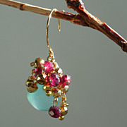 SOLD Garnet and Chalcedony Waterfall Drop Earrings with Pyrite