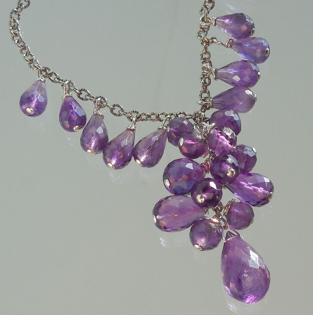 RESERVED - Amethyst Briolette Waterfall Cascade Necklace