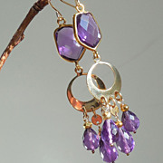 SOLD Amethyst Renaissance Tudor Style Chandelier Earrings - Clearance