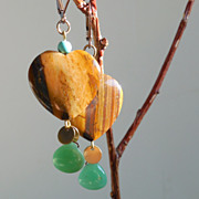 SALE Tiger Eye and Chrysoprase Heart Drop Earrings