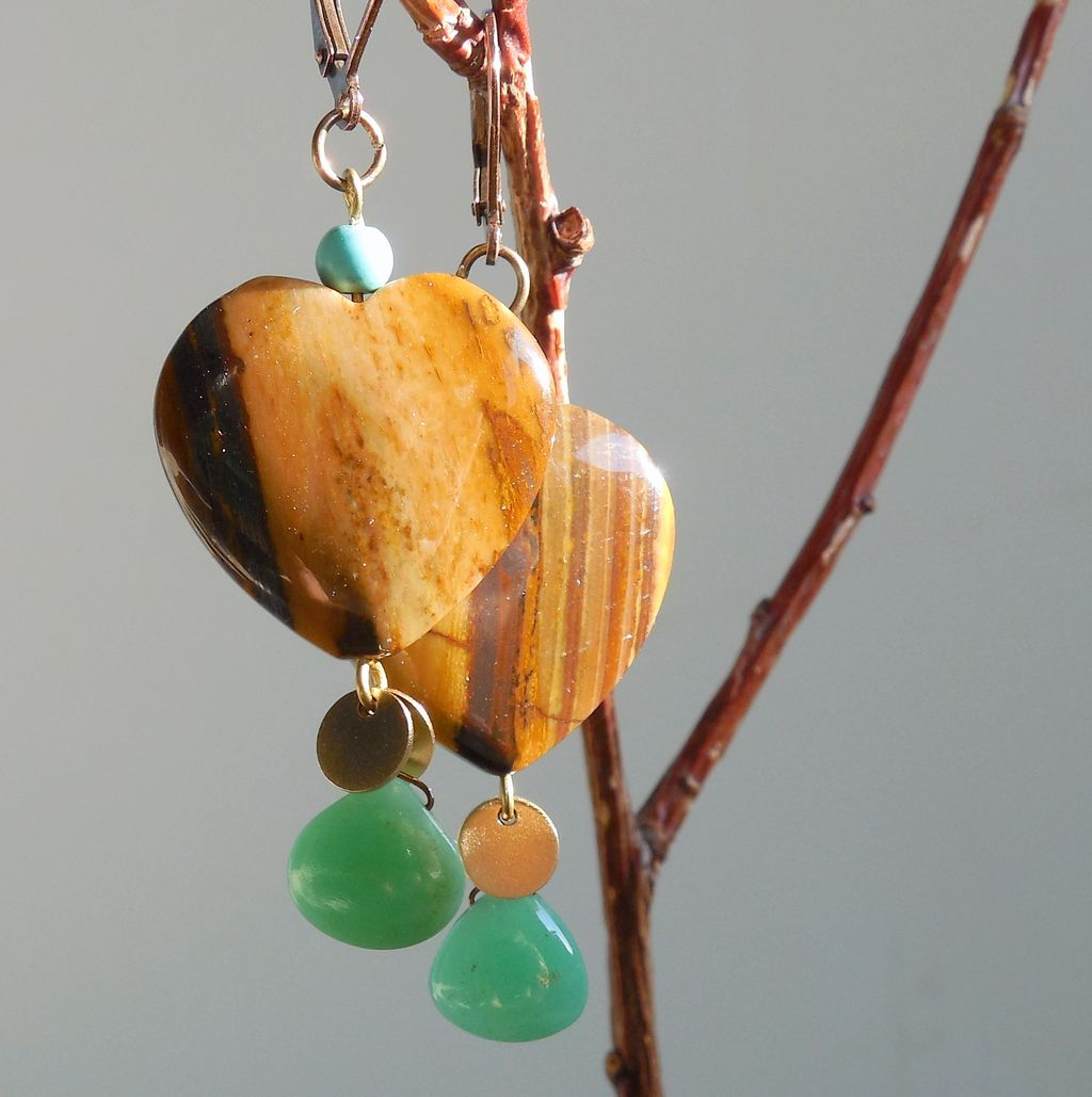 Tiger Eye and Chrysoprase Heart Drop Earrings