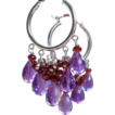 Amethyst and Garnet Briolette Hoop Earrings