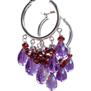 SALE Amethyst and Garnet Briolette Hoop Earrings
