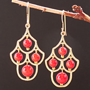 SOLD Red Bamboo Coral Chandelier Earrings - Petite Poppy Color