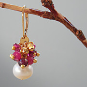 SALE Ruby, Garnet, Pyrite and Pearl Boho Chic Drop Earrings