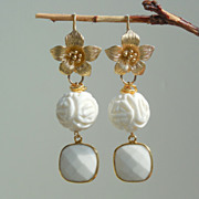 SALE White coral Lotus Flower Earrings