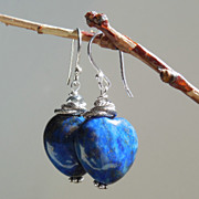 SOLD RESERVED - Lapis Lazuli Heart Earrings