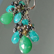 SOLD Chrysoprase, Russian Amazonite, Pyrite, and Black Spinel Medieval Princess Earrings