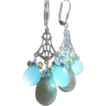 Tudor Princess Chandelier Earrings Labradorite, Chalcedony, and Pyrite