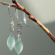 SOLD Chalcedony Marquise Cut Earrings - Sea Foam Green Elegance