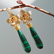 SOLD Reserved - Malachite Flower Earrings