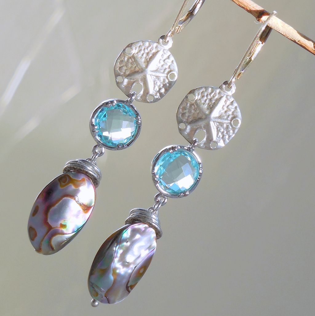 Abalone Blue Glass Sand Dollar Drop Earrings