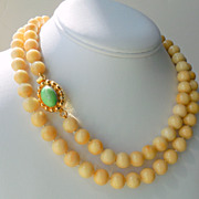 SOLD Yellow Jade Nephrite Saffron Hand Knotted 36&quot; Long Necklace
