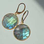 SOLD Labradorite Lollipop Circle Disc Drop Earrings