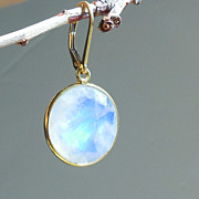 SOLD Moonstone Lollipop Circle Disc Earrings