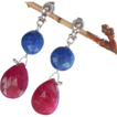 Clearance - Ruby, Lapis Lazuli, Gemstone Drop Earrings