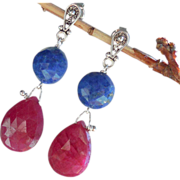 SALE Clearance - Ruby, Lapis Lazuli, Gemstone Drop Earrings