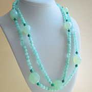 SOLD Aqua Chalcedony and Turquoise Agate 50&quot; Long Hand Knotted Necklace