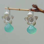 SOLD Aqua Chalcedony Lotus Flower Drop Earrings