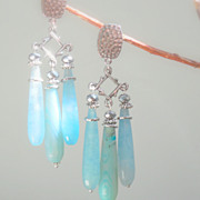 SOLD Bohemian Blue Agate Chandelier Clip On Earrings