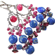 SALE Ruby, Lapis Lazuli, Garnet Gemstone Drop Chandelier Earrings