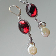 SOLD Oxblood  Red and Coin Pearl Drop Earrings