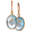 SALE Blue Topaz Framed Gemstone Drop Earrings