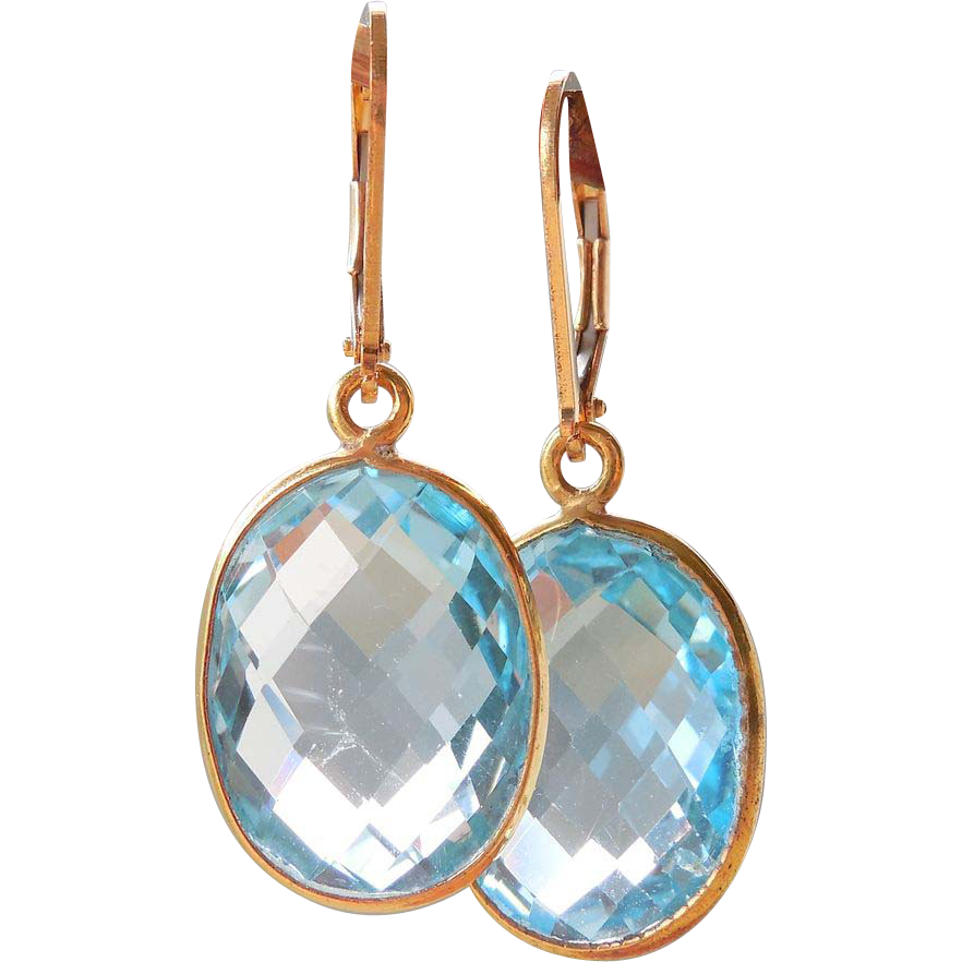 Blue Topaz Framed Gemstone Drop Earrings