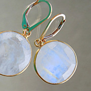SOLD Moonstone Lollipop Circle Disc Drop Earrings