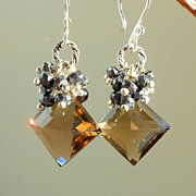 SALE Smoky Quartz, Black Spinel Waterfall Drop Earrings