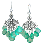 SOLD RESERVED - Emerald Green Onyx Chandelier Earrings Indian Mogul Princess