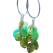 SALE Emeralds, Vesuvianite, Peridot, Waterfall Cascade Hoop Earrings