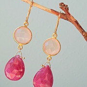 SOLD Ruby and Pink Chalcedony Gemstone Drop Earrings