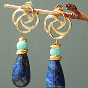 SOLD Lapis Lazuli, Russian Amazonite Blue Drop Earrings