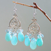 SOLD Aquamarine, Blue Peruvian Opal Chalcedony Chandelier Earrings