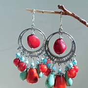 SOLD Red Coral and Turquoise Magnesite Stone Chandelier Earrings