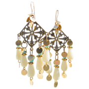 SALE White Coral Chandelier Earrings
