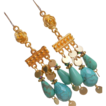 Turquoise Magnesite Stone Dramatic Chandelier Drop Earrings