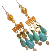 SALE Turquoise Magnesite Stone Dramatic Chandelier Drop Earrings