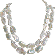 SALE Long Baroque Pearls Necklace Hand Knotted with Rock Crystal - Opera Length 44&quot;