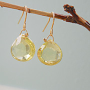 REDUCED Lemon Quartz Yellow Drop Earrings