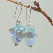 SALE Blue Topaz, Labradorite, Tanzanite, Onyx,  Drop Earrings